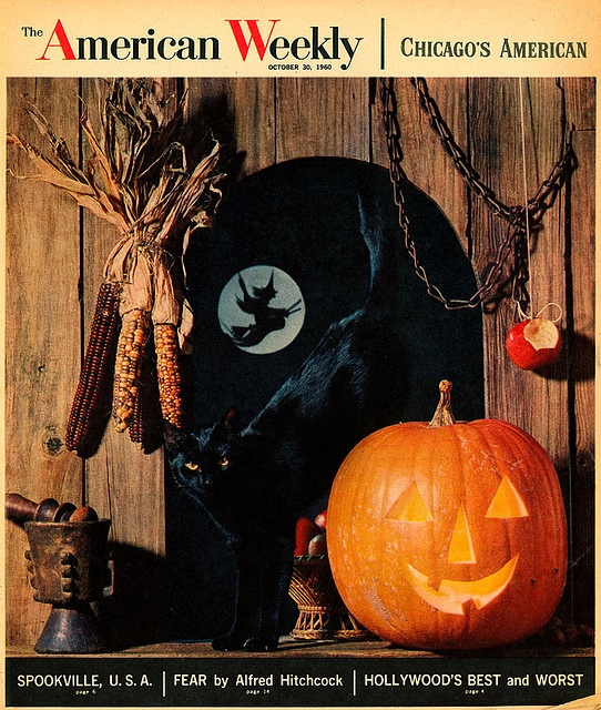Immensely festive cover of a copy of American Weekly magazine from 1960. #decor #decorations #vintage #Halloween #retro #1960s #pumpkin #sixties #witch #corn #black #cat #orange #magazine #cover