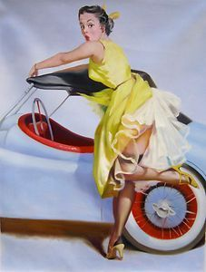 """Brunette Girl Pinup-""""Sport Car Girl""""--Hand painted oil on canvas-after"""