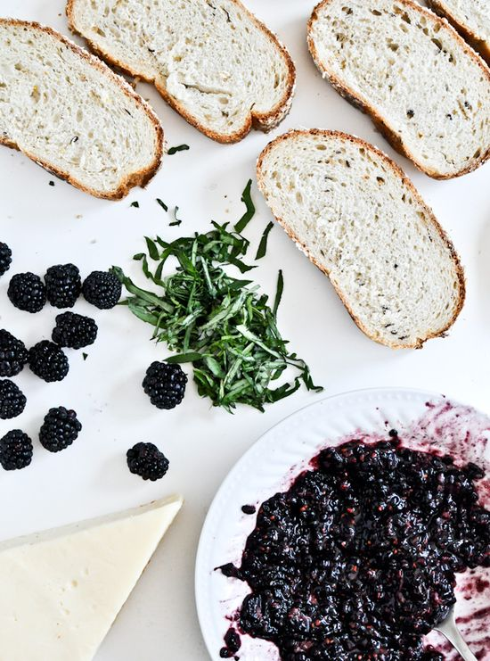 grilled fontina + blackberry basil smash sandwiches