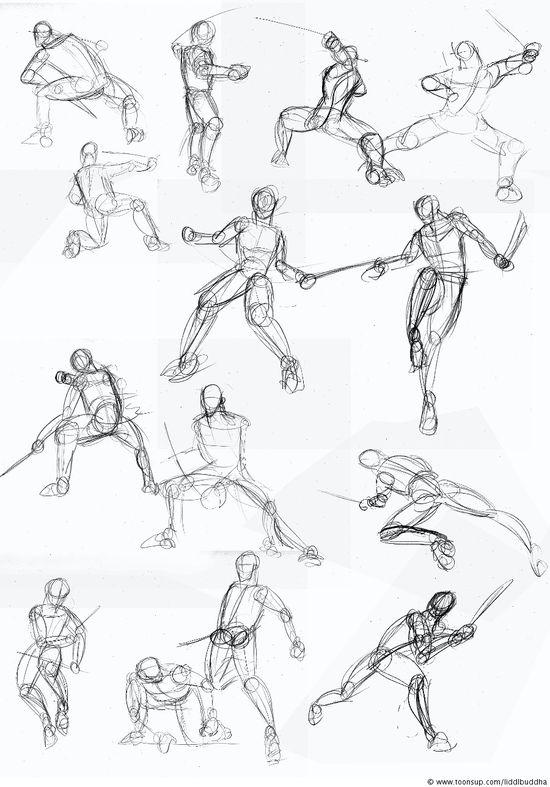 Concept Art / Character Design Skizzenbuch #1 Fighting-pose - Resources for CAPI -Create Art Portfolio Ideas at www.milliande.com