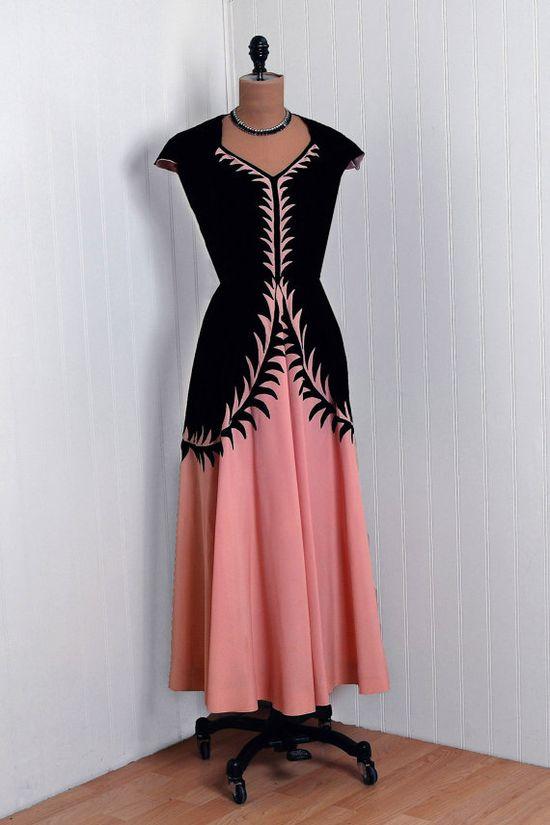 1930's  Black-Velvet & Pink Silk-Taffeta Dress