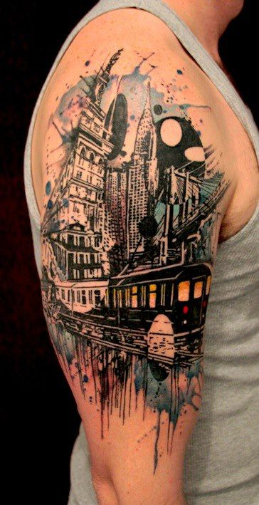 NY themed tattoo by Gene at Tattoo Culture Studio. Rate & Review tattoo studios and artists around the globe at TattooStage.com #tattoo #tattoos #Ink