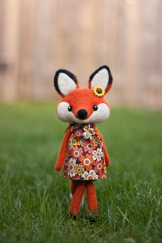 Madeline, Needle Felted Fox Doll on Etsy, $68.00
