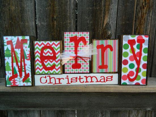 Christmas wood blocks Merry Christmas Blocks by BuzzingBeesCrafts, $18.00