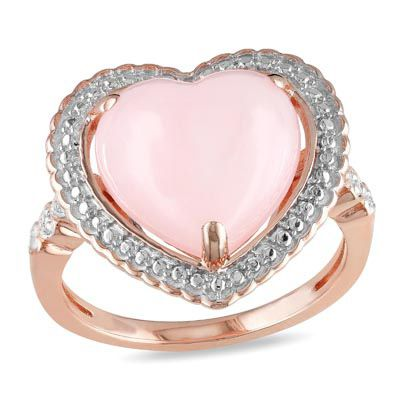 Heart-Shaped Pink Opal and Diamond Ring