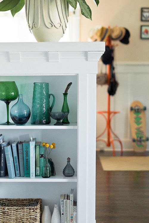 """Sneak Peek: Chelsea and Forrest Kline. """"We're fortunate to live a few blocks from """"retro row"""" and have a great monthly antiques flea market so there is no shortage of vintage glassware."""" #sneakpeek"""