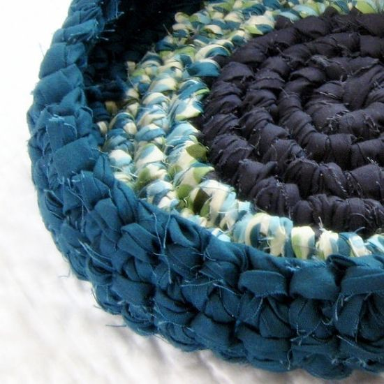 Raindrop Rag Basket  Crochet Fabric Strips by NewEnglandQuilter, $22.00