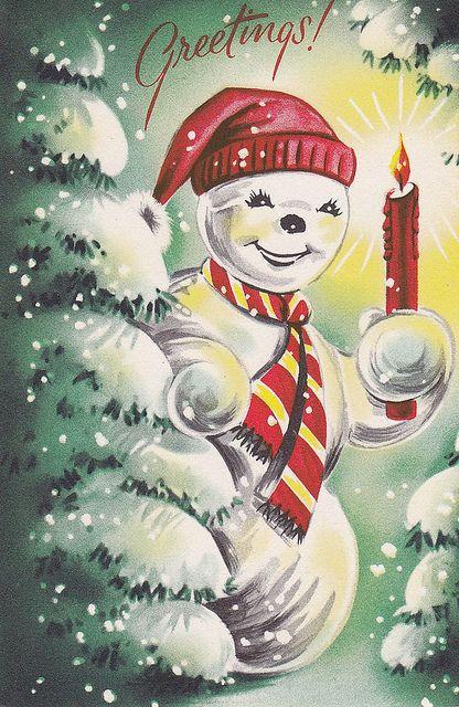 vintage Christmas card #Christmas #snowman