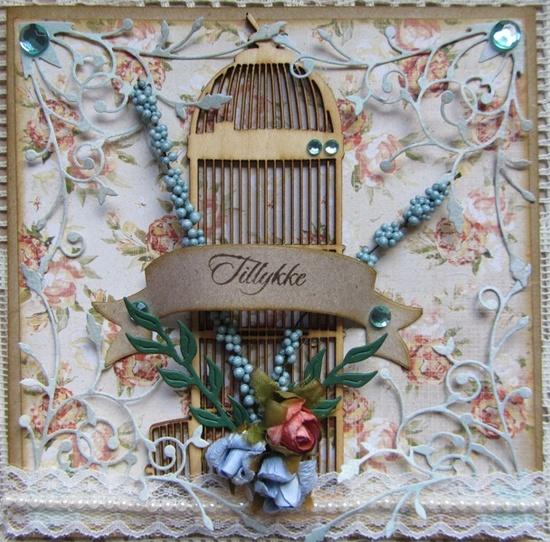 pipserier - DT card & Scrap w. birdcage