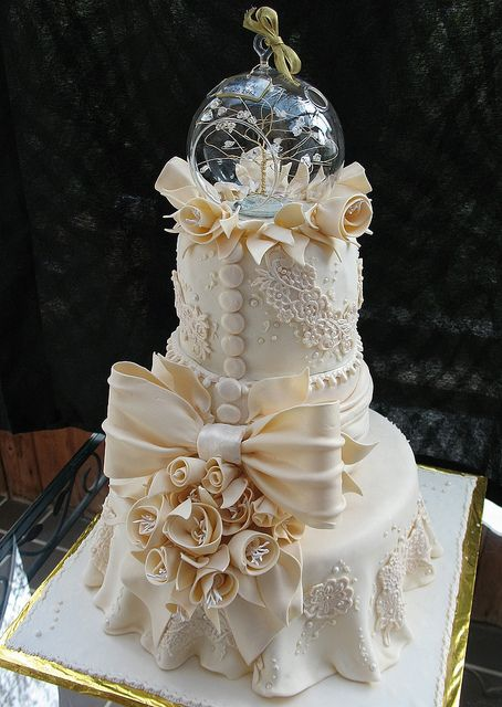Ivory Lace Tiered Fondant Wedding or Anniversary Cake main view   by tanyacakes, via Flickr