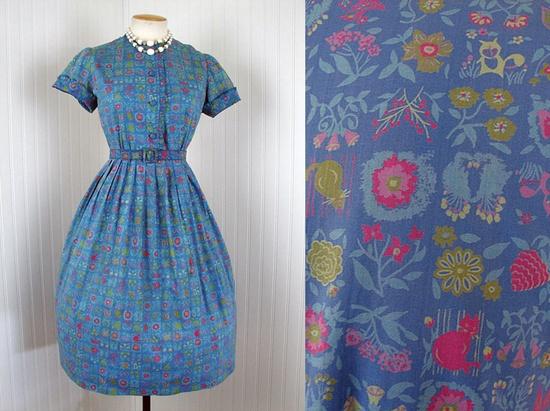 1950s Dress - Vintage 50s Novelty Print Cat Bird Raccoon Cotton Day Dress M L - The Catbird Seat