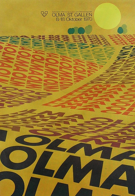 1970 vintage poster graphics OLMA ST GALLEN / GERMANY