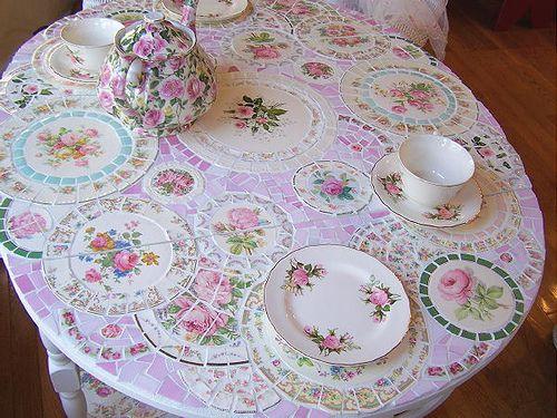 Broken china mosaic table