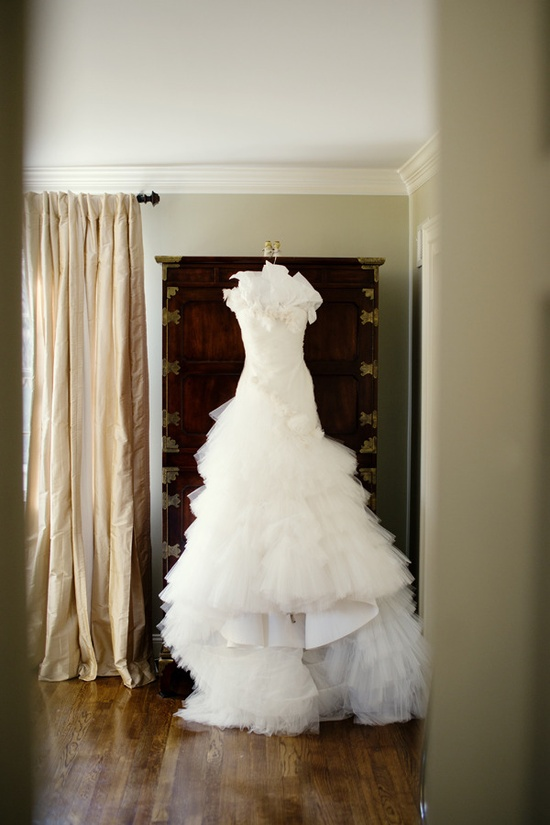 Wedding Gown by Marchesa, Photography by robertandkathleen..., Featured on StyleMePretty.com...