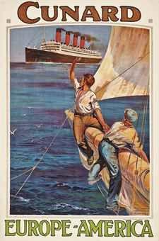 Cunard Line, circa 1920, by Odin Rosenvinge. #vintage #travel #poster