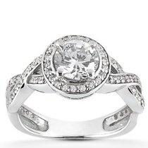 1.00CT Pave Halo Diamond Ring 14K White Gold