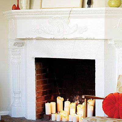 swap out your logs in your fireplace for candles {elegant + cozy}