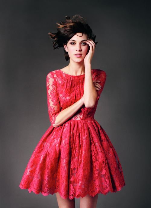 Lovely red lace dress.