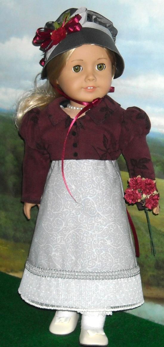 1812 Regency Dress with Burgundy Spencer and Bonnet for Caroline.
