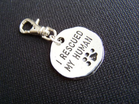 dog Tag I rescued my human Dog tag Dog charm Dog by Frillypaws, $6.00