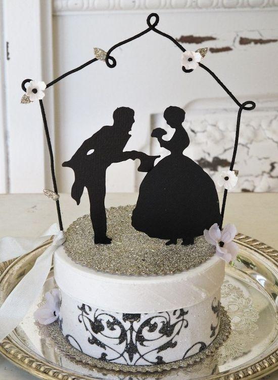 #KatieSheaDesign ?? ? Wedding cake topper- silhouette