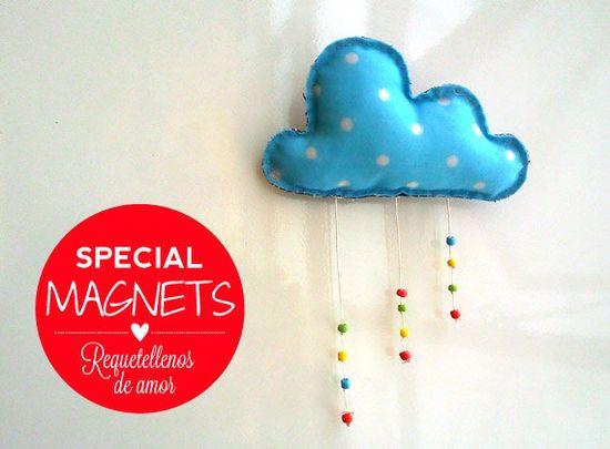 Handmade fridge magnet stuffed rainy cloud plushie by Owlystore, $13.00