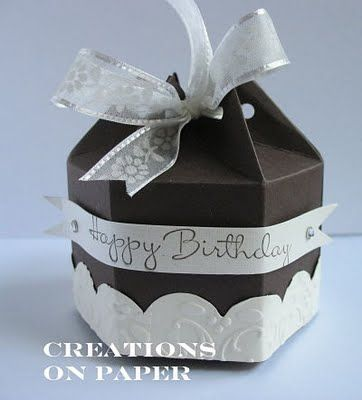 cute box made using stampin up big shot milk carton die