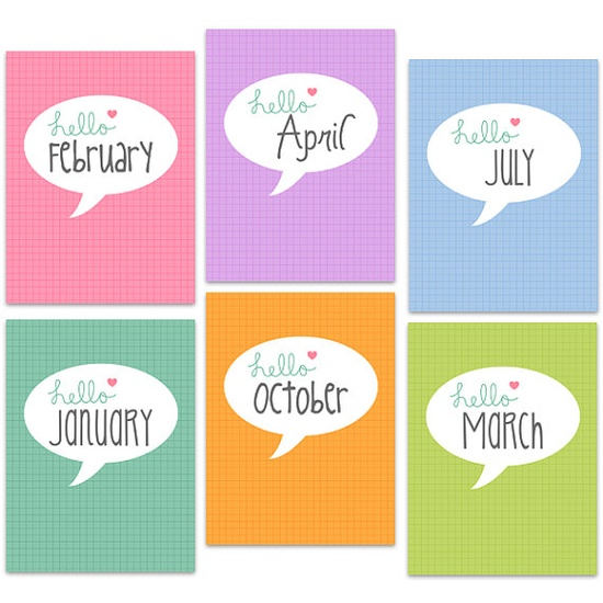 """Hello """"month"""" Project Life Journal Cards by PerpetualLoveDesigns at Etsy"""