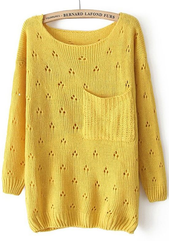 Yellow Hollow-out Pockets Long Sleeve Sweater