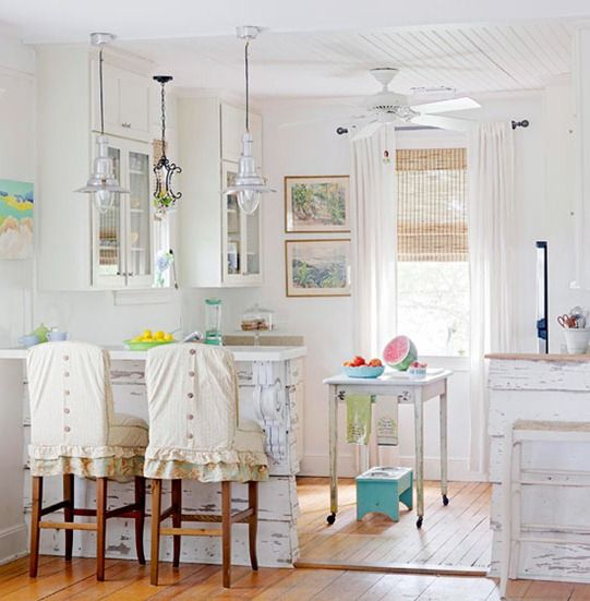 cottage kitchen. SO easy to do this great little happy beachy kitchen. cant go wrong w white!