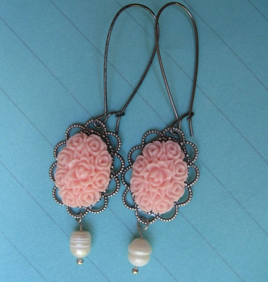 SPRING IS HERE earrings on French wires.  So sweet. $8.00.  www.etsy.com/...