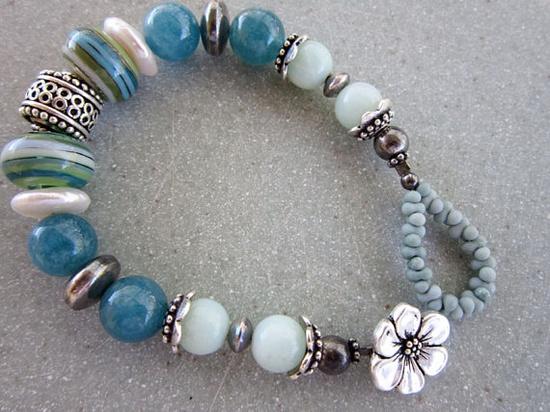 Blue Green Sterling Silver Lampwork Bracelet by MarthaDzJewelry on Etsy