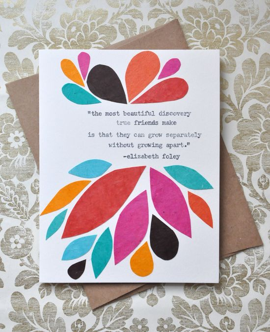Birthday Card - Handmade Greeting Card - Friendship Quote Abstract Leaves - Friendship Card. $8.50, via Etsy.