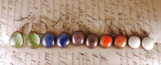 Vintage inspired Cat's eye glass gem earrings by Dishfunctional Designs.