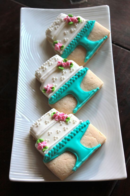 Cake on a Cake Stand Cookies, by Crafted Cookies.