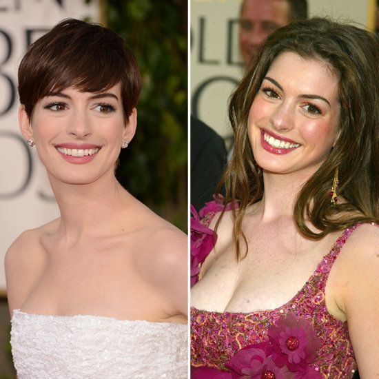Now and Then: Celebrities at the Golden Globes Anne Hathaway