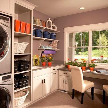 Laundry Room Office Design Idea