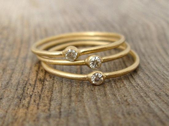 14 Karat Gold Stacking Rings - Set of 3 Rings, Set with Moissanite Gemstones. $345.00, via Etsy.