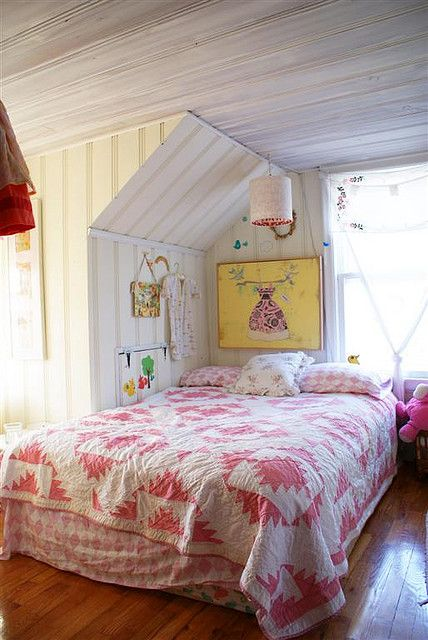 Cosy bed under the eaves ~ vintage pink quilt
