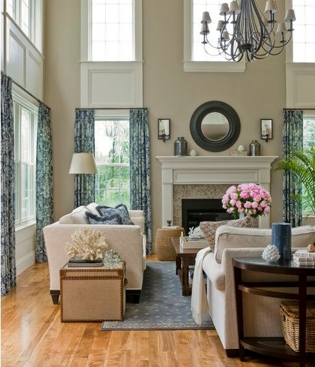 Mixing beige and gray... Plus, working / decorating a room with a tall ceiling (Emily A. Clark).