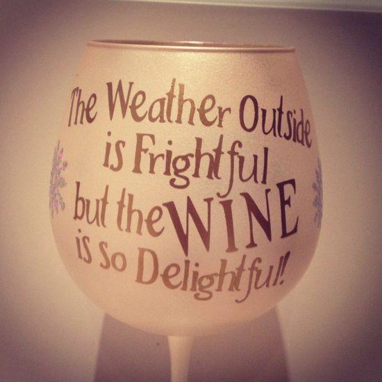 Christmas Wine Glass.