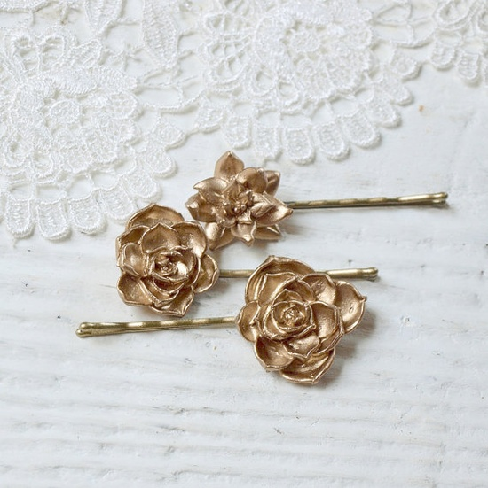 Succulent Hair Bobby Pins Set in Golden Bronze