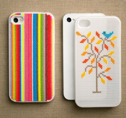 Plastic canvas iphone covers.
