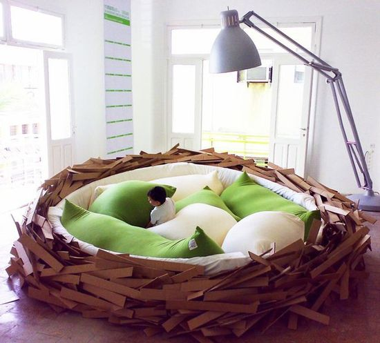 A bed as a nest; It's really more like an art installation though. Personally, i think it'd be great in a kids room or even the same idea in the back yard amongst the trees and flowers.     In my opinion, this is just too cute!