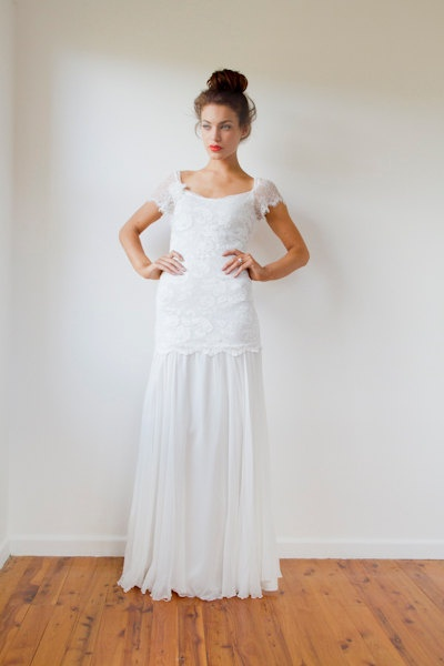 Beautiful low back French lace & silk chiffon by Graceloveslace, $990.00