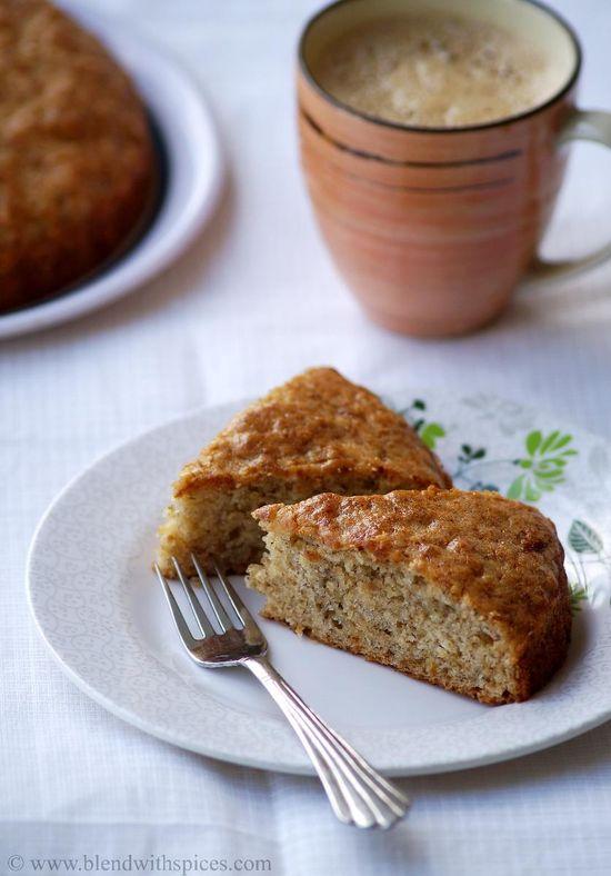Eggless Banana Cake Recipe - Vegan Banana Cake Recipe - Step by Step Pictures