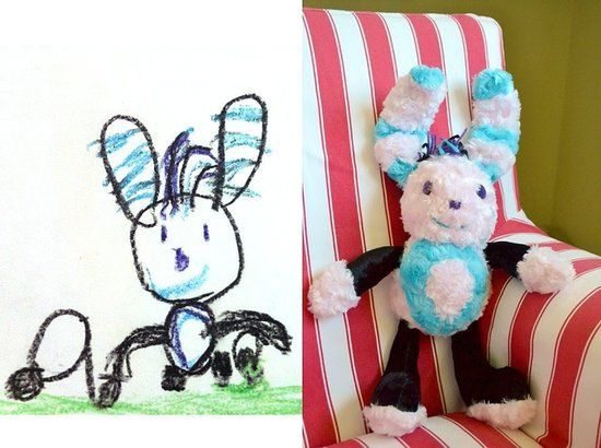 Who knew? There are several companies that take your kid's drawings and turn them into real-life plush toys. Might make a great gift for the holidays.