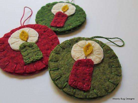 Christmas Candles Set of 3 Wool Felt Ornaments by WoollyBugDesigns, $15.00