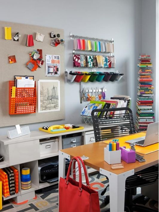 Colourful home office design