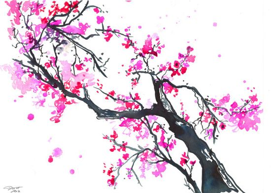 The Promise of Spring, #watercolor #cherry #blossom by Jessica Durrant